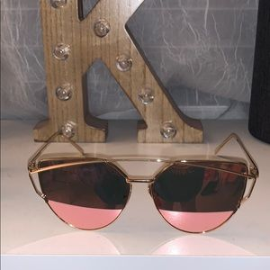 Pink cat eye reflective sunglasses